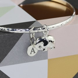 Personalised Hammered Silver Bangle With Elephant Charm