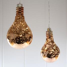 Hanging Mirrored Metallic Light Bulb Light