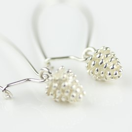 Solid Silver Pine Cone Earrings