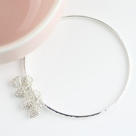 Hammered Bangle With Silver Pine Cone Charms