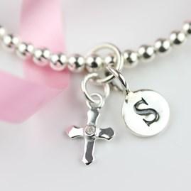Personalised Children's Silver Christening Bead Bangle
