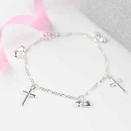 Children's Christening Cross And Heart Bracelet
