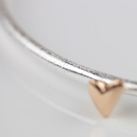 Devotion Silver Bangle With Rose Gold Heart