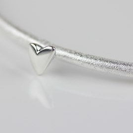 Devotion Silver Bangle With Heart Charm