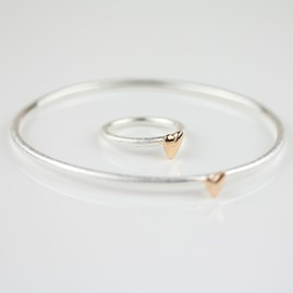 Devotion Silver Ring With Rose Gold Heart