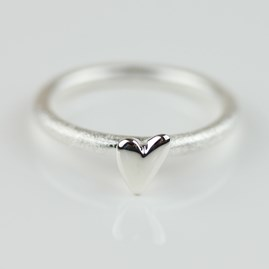 Devotion Silver Ring With Silver Heart