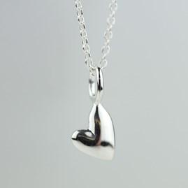 Devotion Polished Silver Heart Necklace