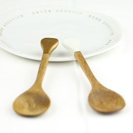 Wooden Sugar Spoon With Gold Tip Handle