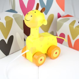 Hand Painted Wooden Giraffe Pull Along