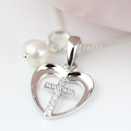 Personalised Child's Christening Cross In Heart Pendant