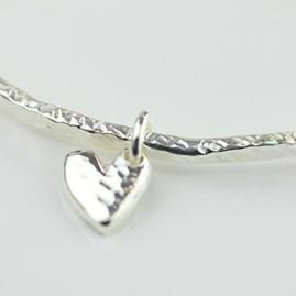 Stunning Silver Hammered Heart Bangle