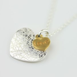 Linear Heart And Gold Heart Necklace