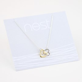 Interlocking Perfect Pair Of Hearts Necklace