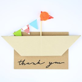 'Thank You' Origami Boat Greeting Decoration