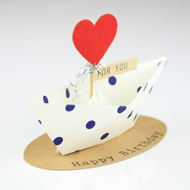 'Happy Birthday' Origami Boat Greeting Decoration