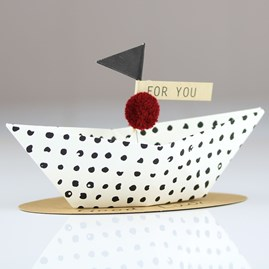 'Good Luck' Origami Boat Greeting Decoration