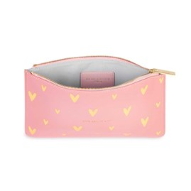 Katie Loxton Personalised Gold Print Perfect Pouch 'Live Love Sparkle' In Pink