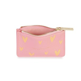 Katie Loxton Gold Print Card Holder 'Live Love Sparkle' In Pink