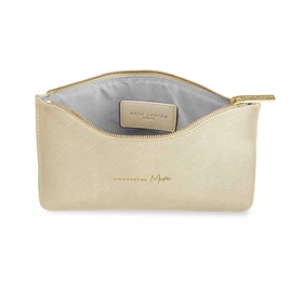 Katie Loxton Personalised Perfect Pouch 'Wonderful Mum' In Metallic Gold