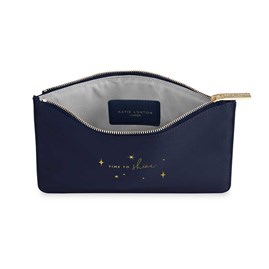Katie Loxton Personalised Perfect Pouch 'Time To Shine' In Metallic Navy