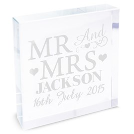 Personalised Crystal Message Block 'Mr And Mrs'