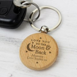 Personalised 'Moon And Back' Wooden Keyring