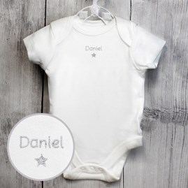 Personalised Silver Star Baby Vest