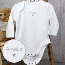 Personalised Silver Star Long Sleeved Baby Vest