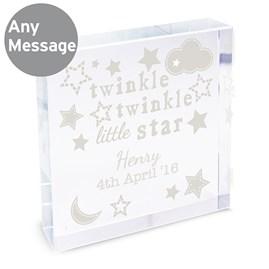 Personalised Child's 'Twinkle Twinkle' Crystal Block