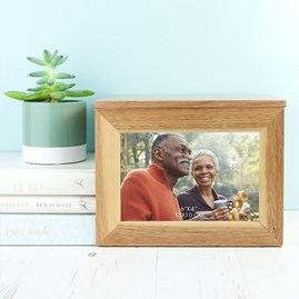 Personalised Name And Heart Oak Photo Cube