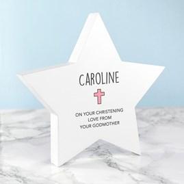 Personalised Christening Star Keepsake In Pink