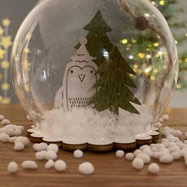 Christmas Penguin In A Snow Globe