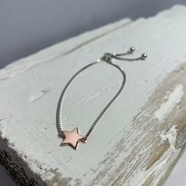 Silver Slider Bracelet With Rose Gold Star Charm