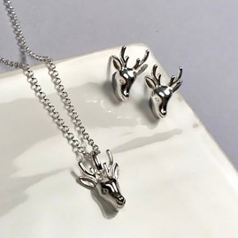 Personalised Solid Silver Stag Necklace