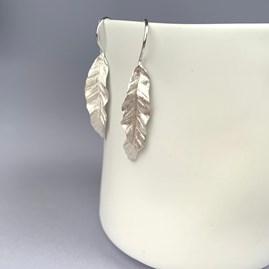 Solid Silver Banana Leaf Earrings