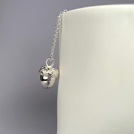 Personalised Silver Acorn Locket With Heart