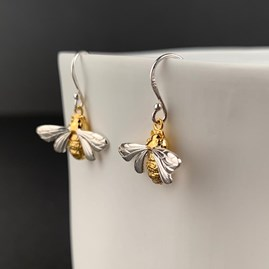 Solid Silver And Gold Queen Bee Earrings