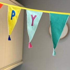 Rainbow 'Happy Birthday' Fabric Bunting 3m