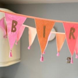 Pink 'Happy Birthday' Fabric Bunting 3m