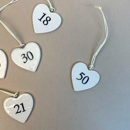 Hanging Birthday Porcelain Heart