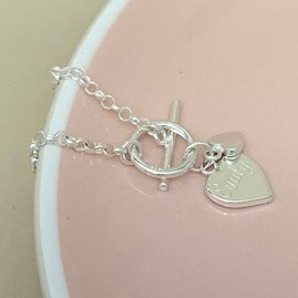 Engraved Sterling Silver Double Heart Charm Bracelet