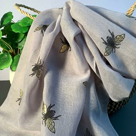 Metallic Bees Scarf In Grey