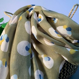 Painted Splodges Scarf In Olive