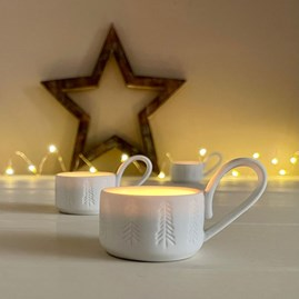Porcelain Cup Shaped Tealight Holder with Fir Trees