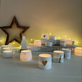 Porcelain Cup Shaped Tealight Holder with Star