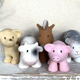 Natural Rubber Rattle & Bath Toy Pig