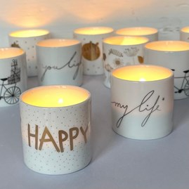 Tealight Holder 'Love The Little Things' with Flower Design