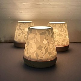 Porcelain and Beech Tealight Lantern With Flowers Design
