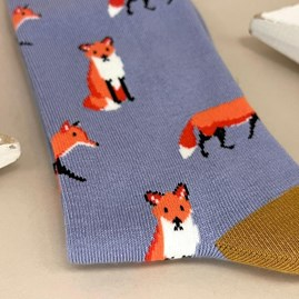 Bamboo Fox Socks In Powder Blue