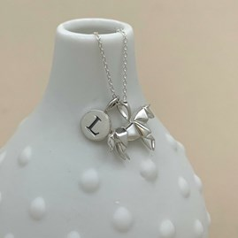 Personalised Solid Silver Origami Horse Necklace